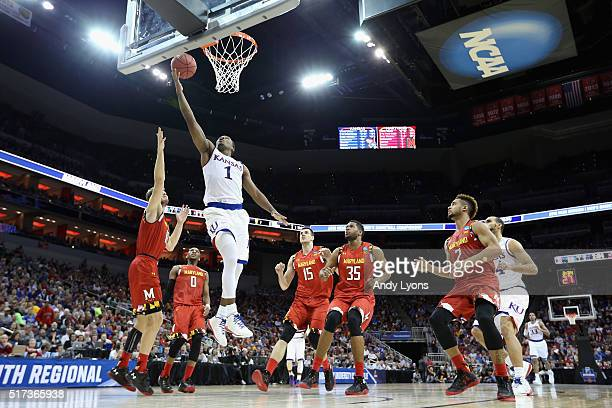 Wayne Selden Jr #1 of the Kansas Jayhawks shoots the ball in the first half against the Maryland Terrapins during the 2016 NCAA Men's Basketball...