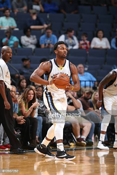 Wayne Selden Jr #7 of the Memphis Grizzlies handles the ball against the Orlando Magic during a preseason game on October 3 2016 at FedExForum in...
