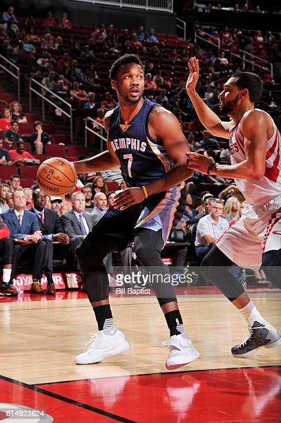 Wayne Selden Jr #7 of the Memphis Grizzlies handles the ball during a preseason game against the Houston Rockets on October 15 2016 at the Toyota...
