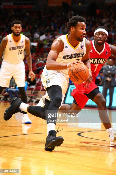Wayne Selden of the Iowa Energy drives past Josh Hagins of the Maine Red Claws in an NBA DLeague game on March 5 2017 at the Wells Fargo Arena in Des...