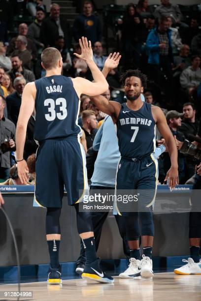Wayne Selden of the Memphis Grizzlies gets introduced before the game against the Indiana Pacers on January 31 2018 at Bankers Life Fieldhouse in...