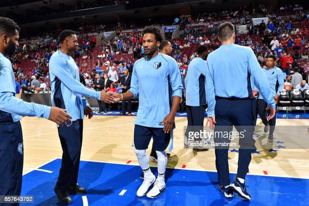 Wayne Selden of the Memphis Grizzlies gets introduced in the starting line up before the game against the Philadelphia 76ers during a preseason game...