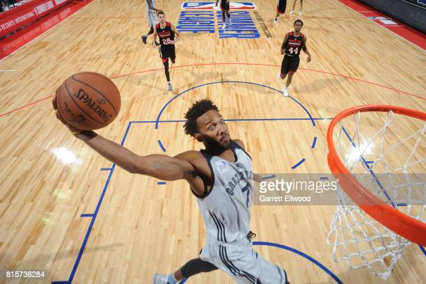 Wayne Selden of the Memphis Grizzlies goes up for a dunk against the Portland Trail Blazers during the 2017 Summer League Semifinals on July 16 2017...