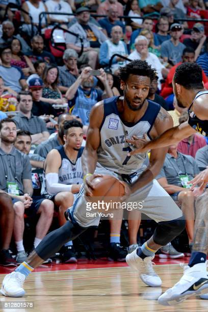 Wayne Selden of the Memphis Grizzlies handles the ball against the Utah Jazz on July 11 2017 at the Thomas Mack Center in Las Vegas Nevada NOTE TO...