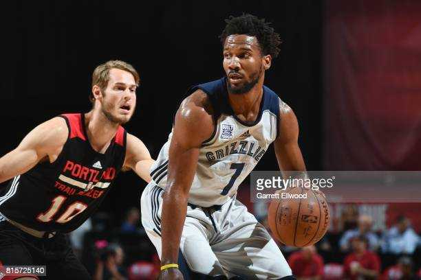 Wayne Selden of the Memphis Grizzlies handles the ball against the Portland Trail Blazers during the 2017 Summer League Semifinals on July 16 2017 at...