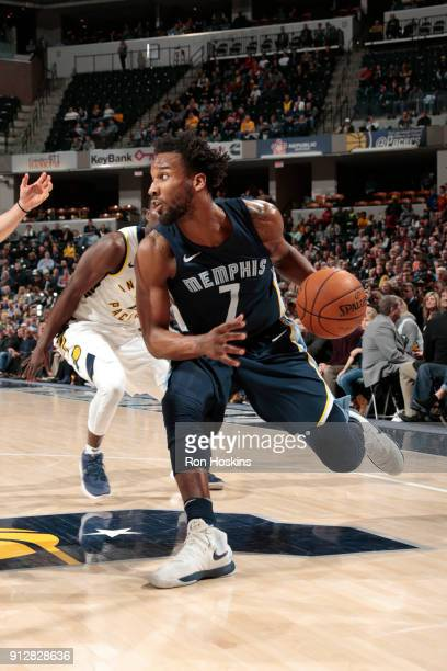 Wayne Selden of the Memphis Grizzlies handles the ball against the Indiana Pacers on January 31 2018 at Bankers Life Fieldhouse in Indianapolis...