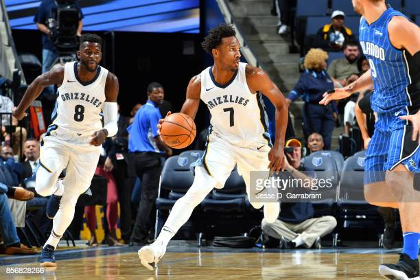 Wayne Selden of the Memphis Grizzlies handles the ball during the game against the Orlando Magic during a preseason game on October 2 2017 at...