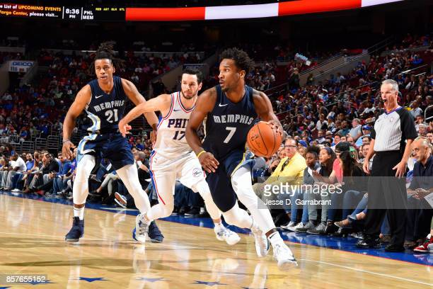 Wayne Selden of the Memphis Grizzlies handles the ball during the game against the Philadelphia 76ers during a preseason game on October 4 2017 at...