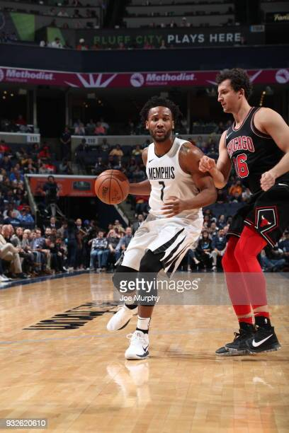 Wayne Selden of the Memphis Grizzlies handles the ball during the game against the Chicago Bulls on March 15 2018 at FedExForum in Memphis Tennessee...