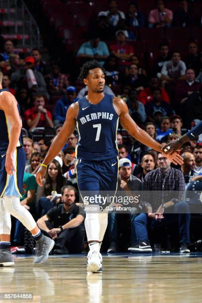 Wayne Selden of the Memphis Grizzlies high fives his teammate during the game against the Philadelphia 76ers during a preseason game on October 4...