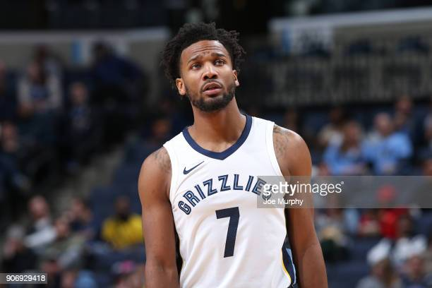 Wayne Selden of the Memphis Grizzlies looks on during the game against the New York Knicks on January 17 2018 at FedExForum in Memphis Tennessee NOTE...
