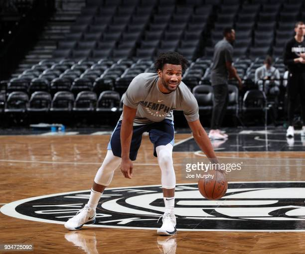 Wayne Selden of the Memphis Grizzlies warms up before the game against the Brooklyn Nets on March 19 2018 at Barclays Center in Brooklyn New York...