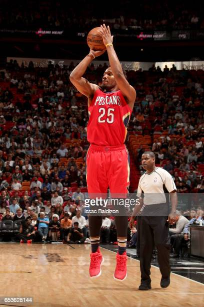 Wayne Selden of the New Orleans Pelicans shoots the ball against the Miami Heat on March 15 2017 at American Airlines Arena in Miami Florida NOTE TO...