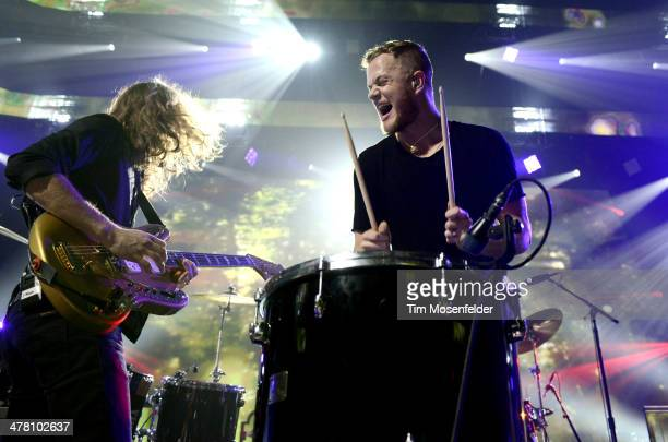 Wayne Sermon and Dan Reynolds of Imagine Dragons perform as part of the iTunes Festival at the Moody Theater on March 11 2014 in Austin Texas