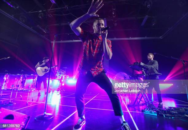 Wayne Sermon Dan Reynolds and Ben McKee of Imagine Dragons perform at the Evolve Tour and Album Live Stream Event at YouTube Space LA on May 9 2017...
