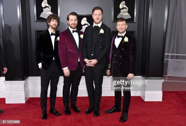 Wayne Sermon Daniel Platzman Dan Reynolds and Ben McKee of musical group Imagine Dragons attend the 60th Annual GRAMMY Awards at Madison Square...
