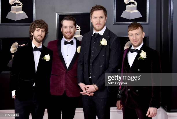 Wayne Sermon Daniel Platzman Dan Reynolds and Ben McKee of musical group Imagine Dragons attend the 60th Annual GRAMMY Awards at Madison Square...