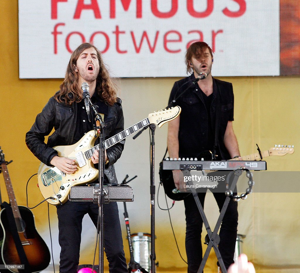 Wayne Sermon (L) of Imagine Dragons performs at Rumsey Playfield on July 5, 2013 in New York City.
