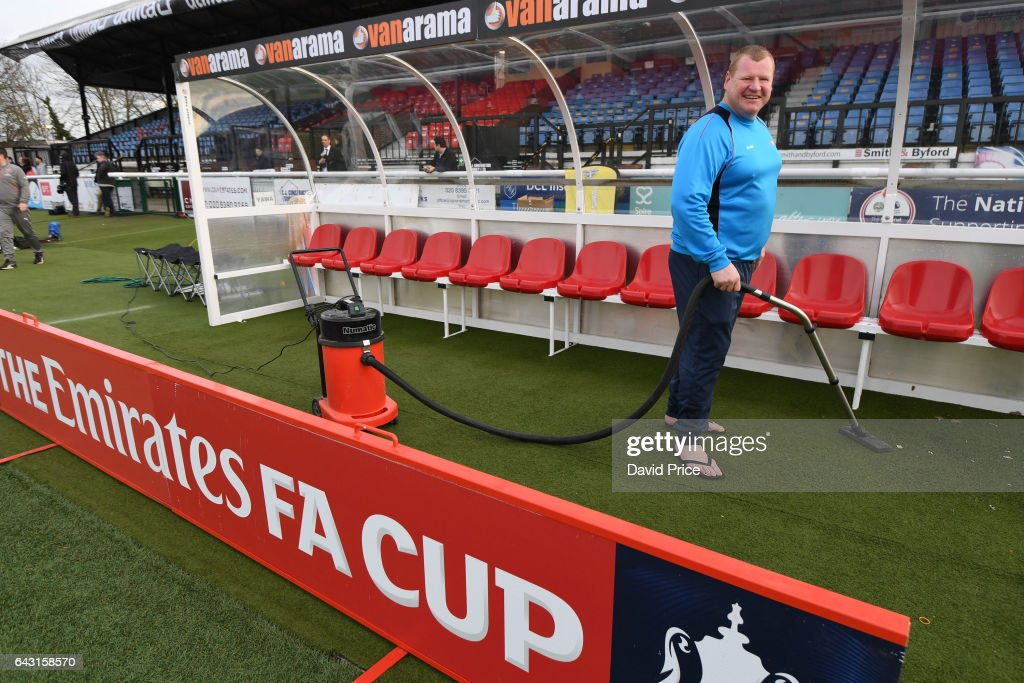 Wayne Shaw the Sutton reserve goalkeeper hovers the away dugout before the match between Sutton United and Arsenal on February 20, 2017 in Sutton, Greater London.