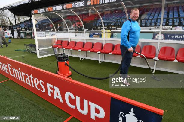Wayne Shaw the Sutton reserve goalkeeper hovers the away dugout before the match between Sutton United and Arsenal on February 20 2017 in Sutton...