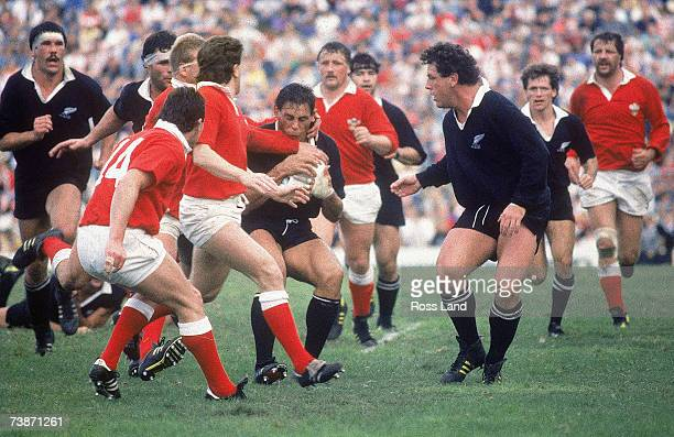Wayne Shelford of New Zealand is tackled during the 1987 Rugby World Cup SemiFinal match between New Zealand and Wales at Ballymore Stadium on June...