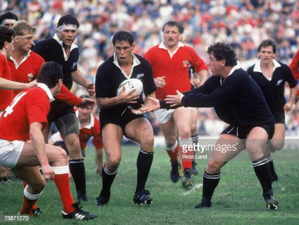 Wayne Shelford of New Zealand prepares to take the ball into contact during the 1987 Rugby World Cup SemiFinal match between New Zealand and Wales at...