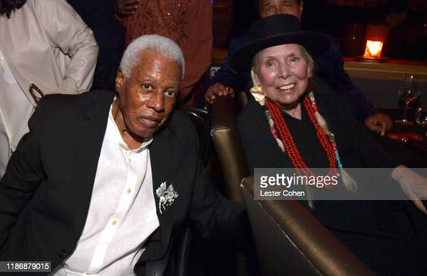 Wayne Shorter and Joni Mitchell attend the Jazz Foundation honors Joni Mitchell And Wayne Shorter at Vibrato on November 10, 2019 in Los Angeles,...