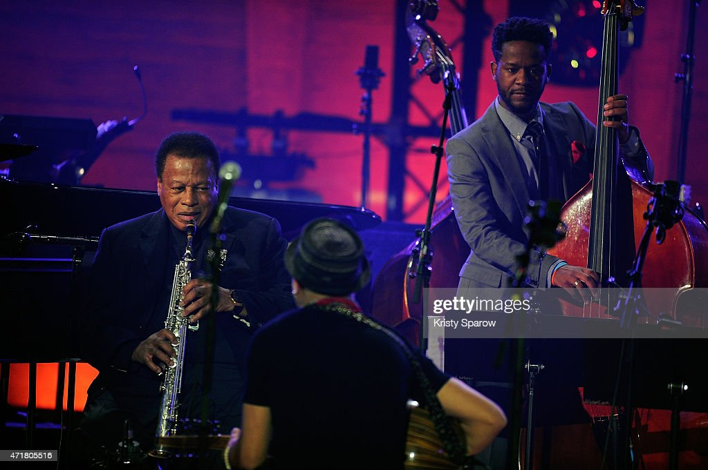Wayne Shorter, Dhafer Youssef and Ben Williams perform on stage during the International Jazz Day 2015 Global Concert at UNESCO on April 30, 2015 in Paris, France.