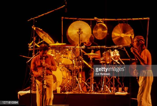 Wayne Shorter, Peter Erskine and Jaco Pastorius perform with Weather Report during the Berkeley Jazz Festival at the Greek Theatre in Berkeley,...