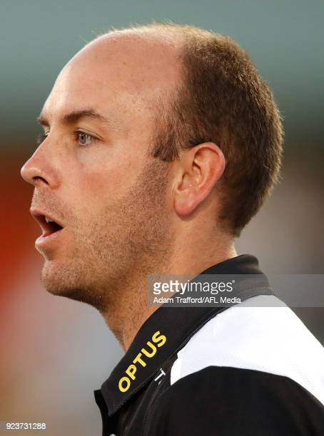 Wayne Siekman Senior Coach of the Magpies addresses his players during the 2018 AFLW Round 04 match between the Melbourne Demons and the Collingwood...