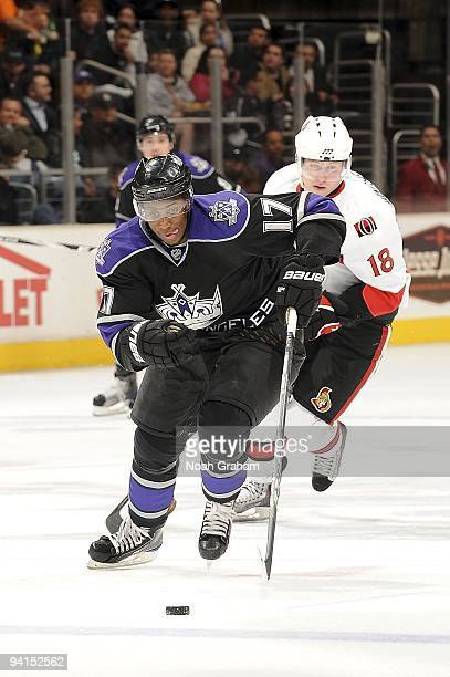 Wayne Simmonds of the Los Angeles Kings drives the puck center ice during the game against the Ottawa Senators on December 3, 2009 at Staples Center...