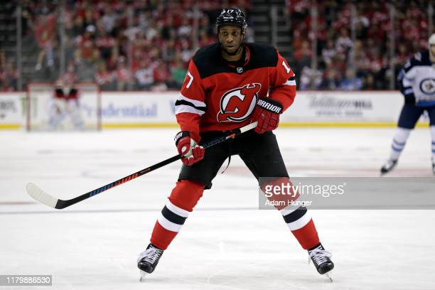 Wayne Simmonds of the New Jersey Devils in action against the Winnipeg Jets during the second period at the Prudential Center on October 4, 2019 in...