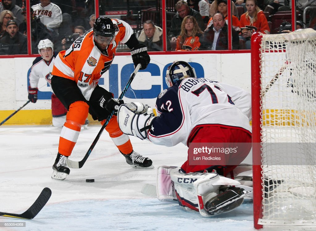 Wayne Simmonds #17 of the Philadelphia Flyers attempts a scoring chance on Sergei Bobrovsky #72 of the Columbus Blue Jackets on March 13, 2017 at the Wells Fargo Center in Philadelphia, Pennsylvania. The Blue Jackets went on to defeat the Flyers 5-3.