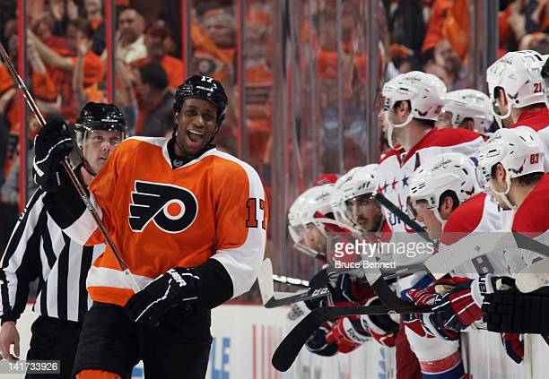 Wayne Simmonds of the Philadelphia Flyers celebrates his game winning goal in the shootout against the Washington Capitals at the Wells Fargo Center...