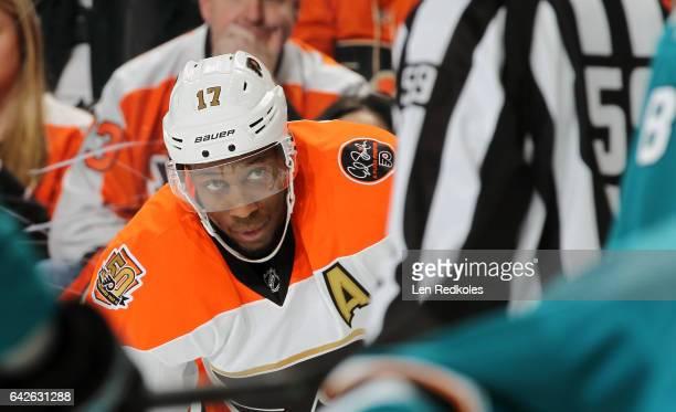 Wayne Simmonds of the Philadelphia Flyers looks toward Linesman Steve Barton prior to a faceoff against the San Jose Sharks on February 11 2017 at...