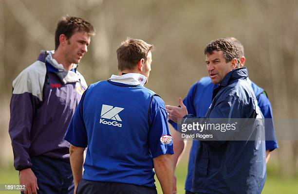Wayne Smith the Northampton Saints Coach instructs his players during training at Franklin's Gardens Northampton England on April 2 2003
