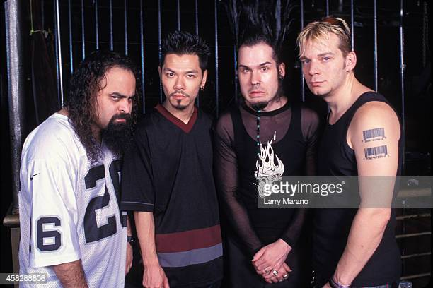 Wayne Static , Ashes, Andy Cole and Sean Davidson of Static X pose for a portrait at Revolution on July 28, 2001 in Hollywood, Florida.