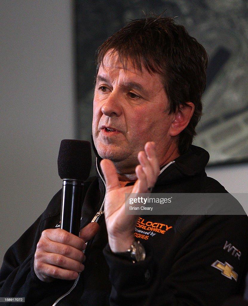 Wayne Taylor addresses the media at a press conference announcing Velocity Worldwide as the new sponsor for the #10 Wayne Taylor Racing Corvette Dallara DP at Daytona International Speedway on January 3, 2013 in Daytona Beach, Florida.