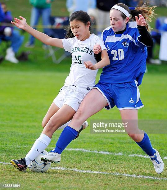 Waynflete Molly McNutt blocks a shot by SV Abby Hughs as Waynflete hosts Sacopee Valley in girls high school soccer Class C West semifinals