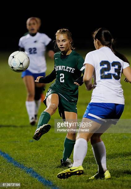 Waynflete's Ava Farrar left kicks the ball past Sacopee Valley's Tayla Bradeen right during the first half of their game Monday Oct 10 2016 in South...