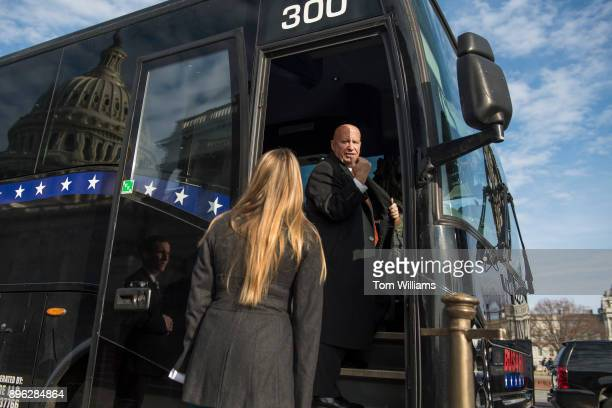 Ways and Means Committee chairman Rep Kevin Brady RTexas boards a bus on the east front of the Capitol which will take House and Senate Republicans...