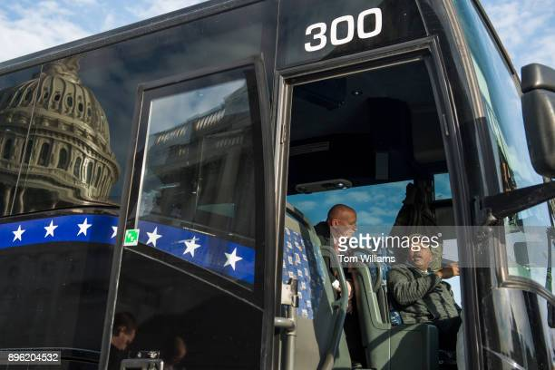 Ways and Means Committee chairman Rep Kevin Brady RTexas talks with bus driver Roy Ross on the east front of the Capitol before House and Senate...