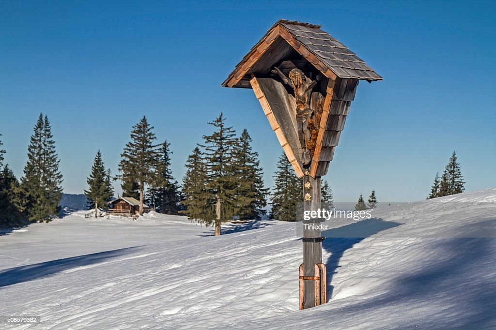 Wayside cross in the Tegernsee Alps : Stock Photo