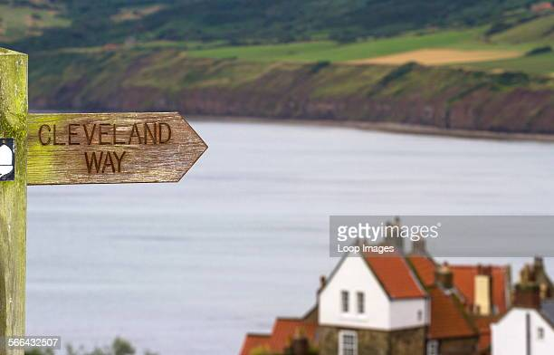 Waysign for the Cleveland Way as it passes Robin Hoods Bay