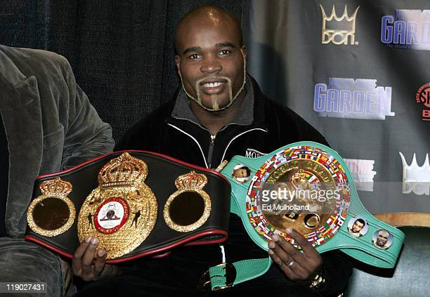 Ring Magazine Cruiserweight Champ JeanMarc Mormeck displays some of his hardware at the presser announcing his upcoming fight