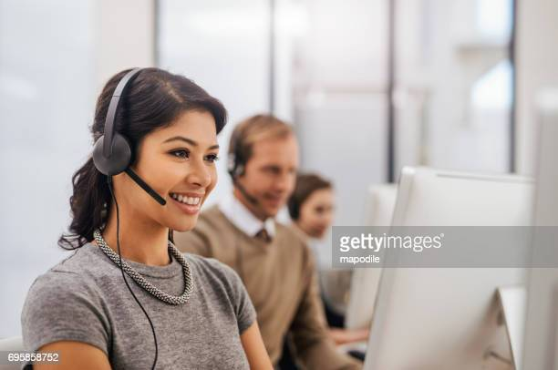 we always answer - saleswoman stock photos and pictures