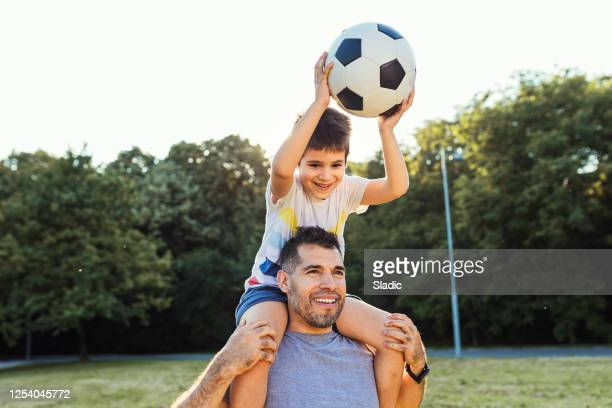 we are always happy when  spending time together - scoring a goal stock pictures, royalty-free photos & images