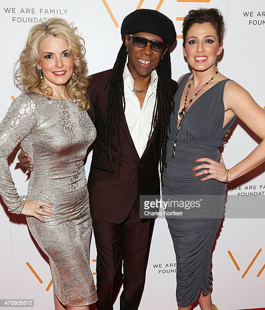 We Are Family Foundation President Nancy Hunt Founder Nile Rodgers and Jess Teutonico attend the 2015 We Are Family Foundation Celebration Gala at...