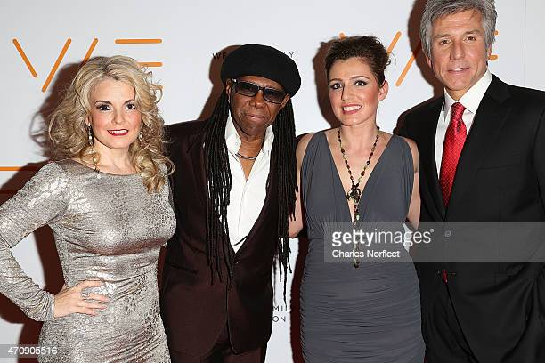 We Are Family Foundation President Nancy Hunt Founder Nile Rodgers Jess Teutonico and Honoree Bill McDermott attend the 2015 We Are Family Foundation...