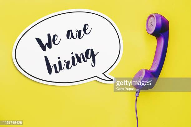 we are hiring text  in bubble speech - announcement message stock pictures, royalty-free photos & images